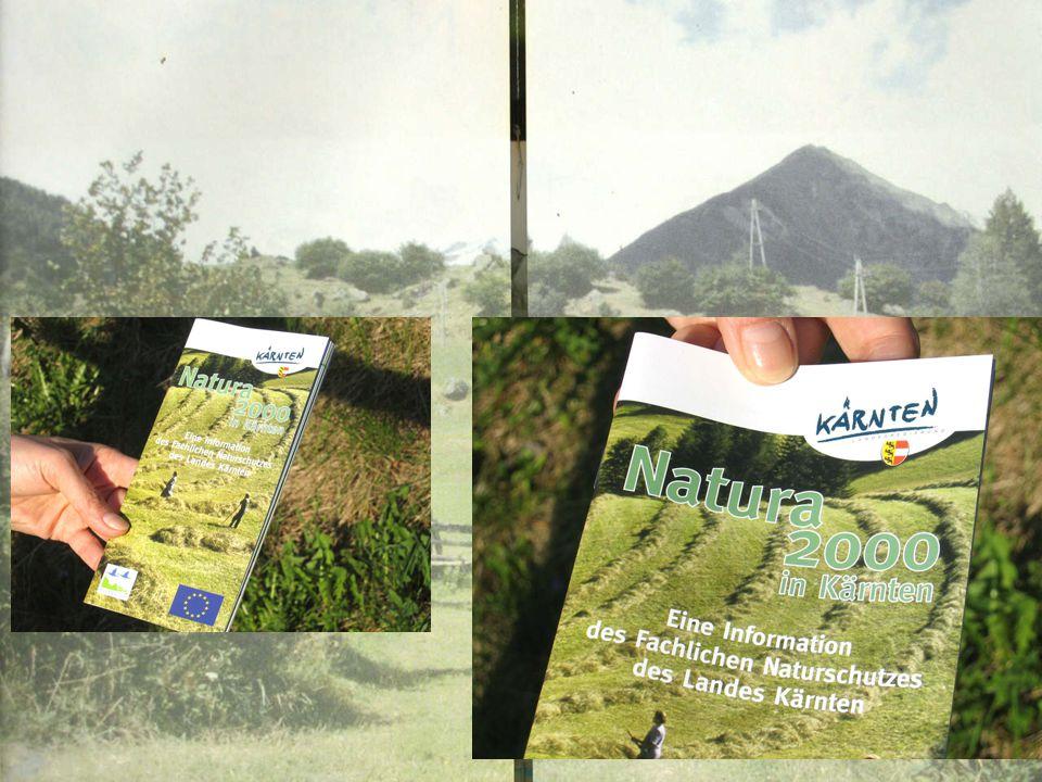 """Ein wichtiger Schritt in der Öffentlichkeits- arbeit war die Herausgabe des Folders """"Natura 2000 in Kärnten"""" Ende 2004. (vergriffen, Neuauflage in Arb"""