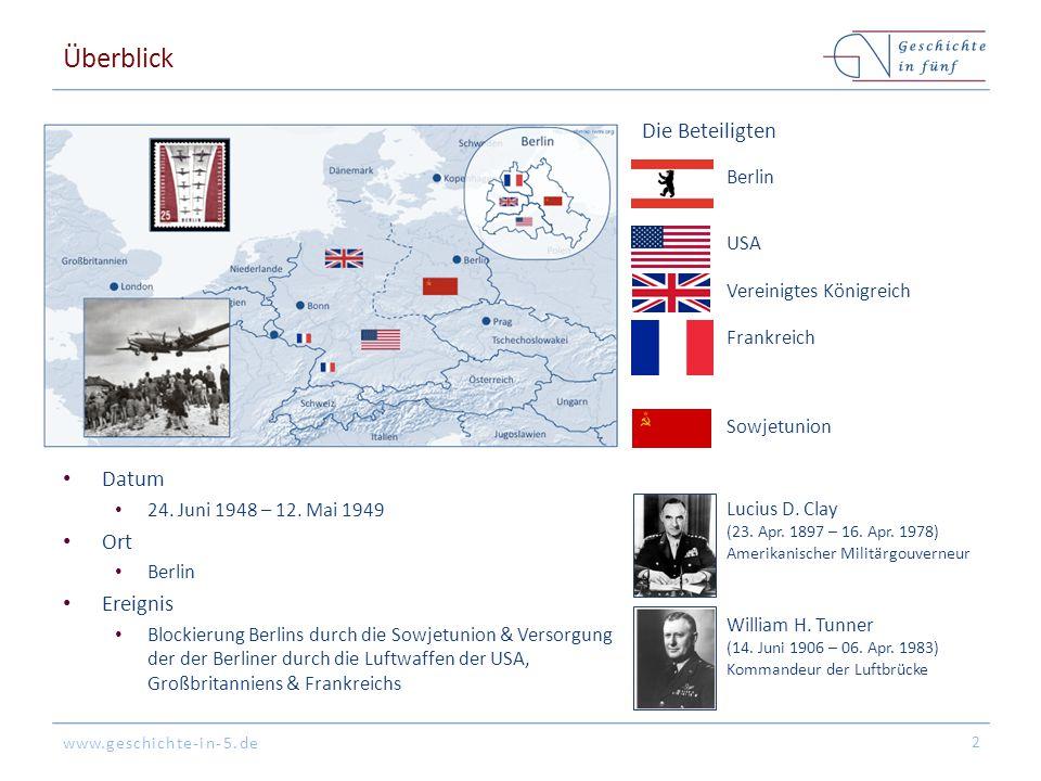 www.geschichte-in-5.de Überblick Datum 24. Juni 1948 – 12. Mai 1949 Ort Berlin Ereignis Blockierung Berlins durch die Sowjetunion & Versorgung der der