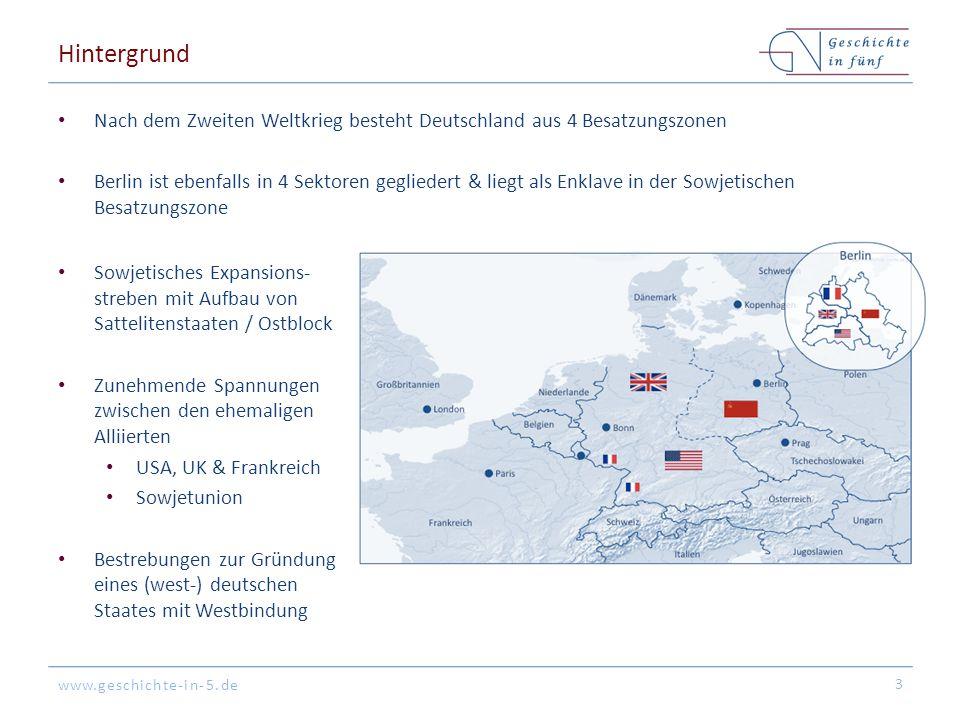 www.geschichte-in-5.de Hintergrund Nach dem Zweiten Weltkrieg besteht Deutschland aus 4 Besatzungszonen Berlin ist ebenfalls in 4 Sektoren gegliedert
