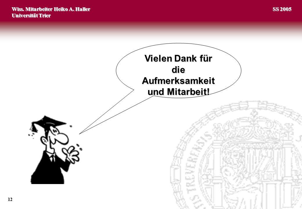 Wiss. Mitarbeiter Heiko A. Haller Universität Trier 12 SS 2005 Vielen Dank für die Aufmerksamkeit und Mitarbeit!