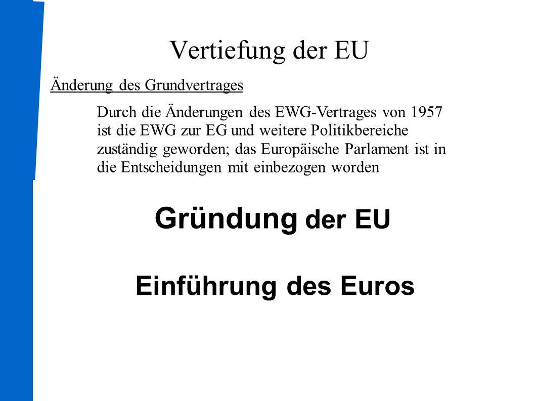 Vertiefung der EU Was bisher geschah: Fusionsvertrag 1965:Zusammenlegung des Rates und der Kommission der EWG, EGKS und EURATOM Eigenmittelbeschluss Seit 1970 wird durch die Gemeinschaft ein Haushaltsplan zur Finanzierung der EWG aufgestellt Direktwahl des Parlaments Seit 1979 wird das das europäische Parlament direkt durchs Volk gewählt