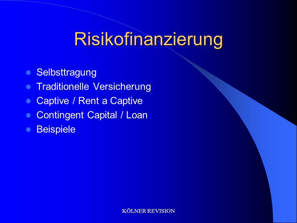 KÖLNER REVISION Risikofinanzierung Selbsttragung Traditionelle Versicherung Captive / Rent a Captive Contingent Capital / Loan Beispiele