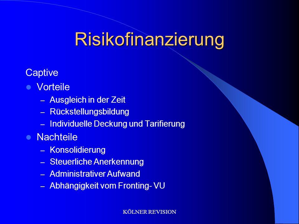 KÖLNER REVISION Risikofinanzierung Captive Vorteile – Ausgleich in der Zeit – Rückstellungsbildung – Individuelle Deckung und Tarifierung Nachteile –