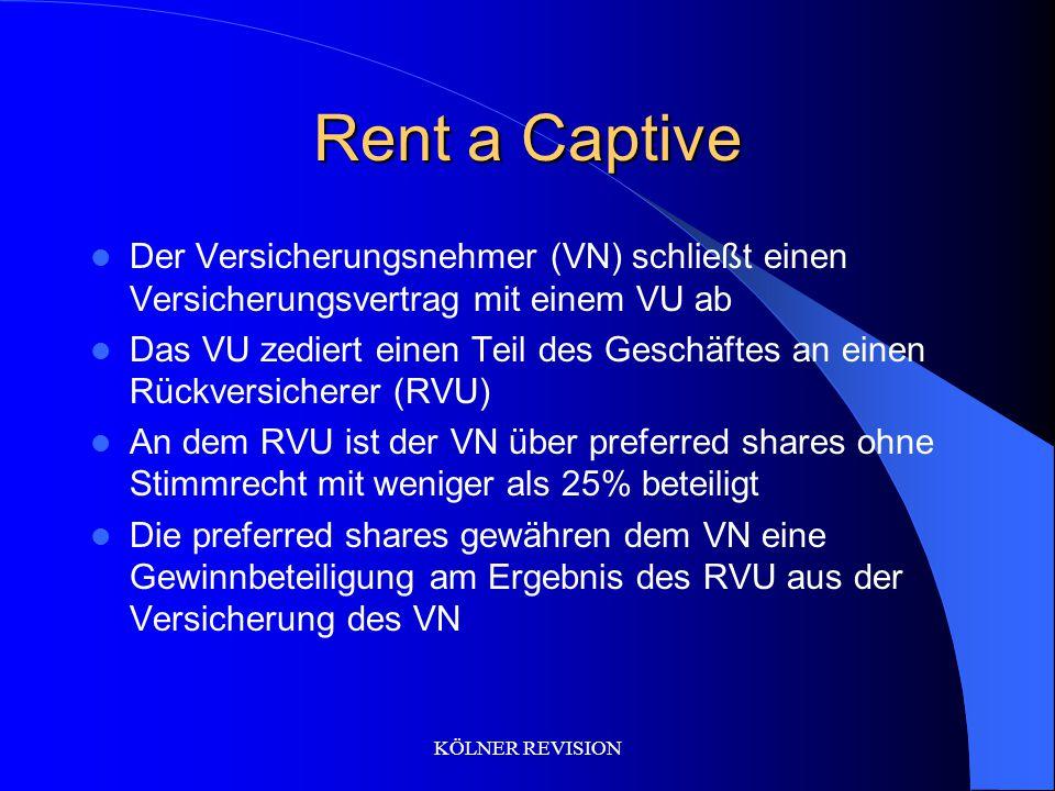 KÖLNER REVISION Rent a Captive Der Versicherungsnehmer (VN) schließt einen Versicherungsvertrag mit einem VU ab Das VU zediert einen Teil des Geschäftes an einen Rückversicherer (RVU) An dem RVU ist der VN über preferred shares ohne Stimmrecht mit weniger als 25% beteiligt Die preferred shares gewähren dem VN eine Gewinnbeteiligung am Ergebnis des RVU aus der Versicherung des VN