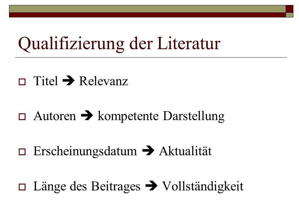 Qualifizierung der Literatur  Titel  Relevanz  Autoren  kompetente Darstellung  Erscheinungsdatum  Aktualität  Länge des Beitrages  Vollständi