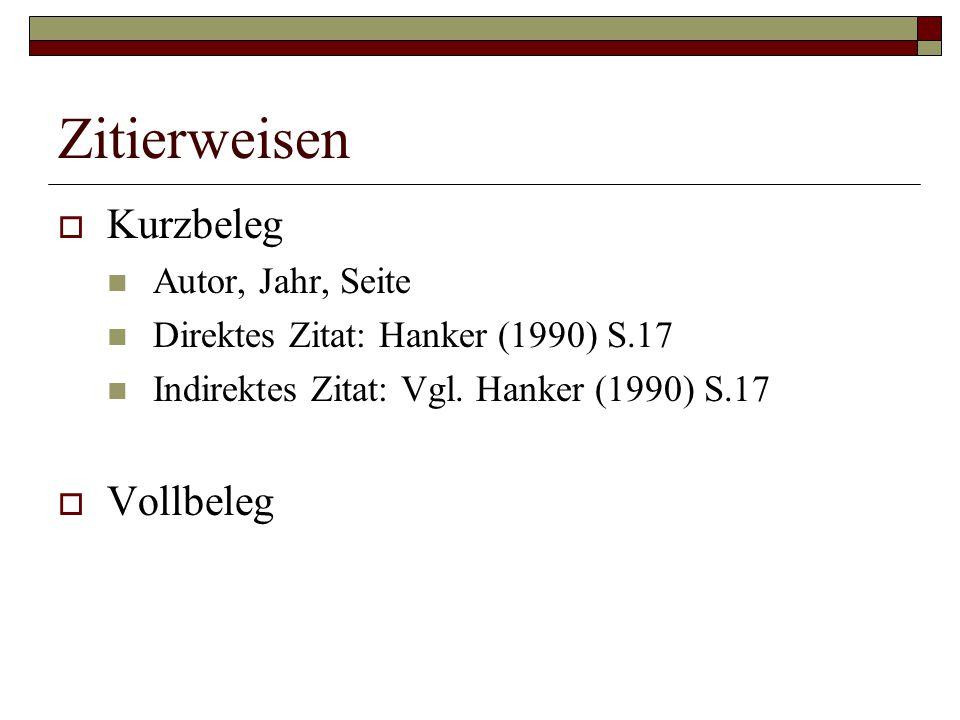 Zitierweisen  Kurzbeleg Autor, Jahr, Seite Direktes Zitat: Hanker (1990) S.17 Indirektes Zitat: Vgl. Hanker (1990) S.17  Vollbeleg