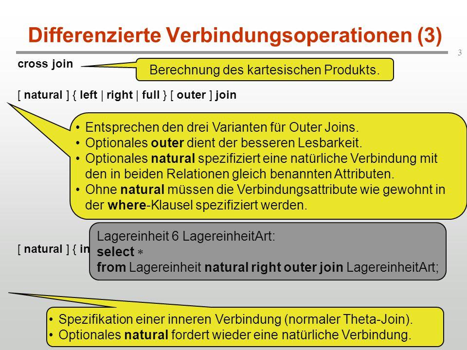 """4 Differenzierte Verbindungsoperationen (4) union join: Full Outer Join, bei dem von vornherein feststeht, dass es zu keinen """"echten Verbindungen kommt."""