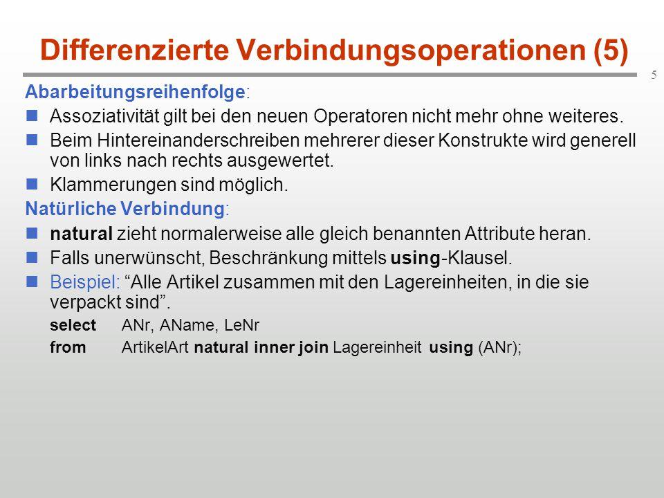 5 Differenzierte Verbindungsoperationen (5) Abarbeitungsreihenfolge: Assoziativität gilt bei den neuen Operatoren nicht mehr ohne weiteres. Beim Hinte