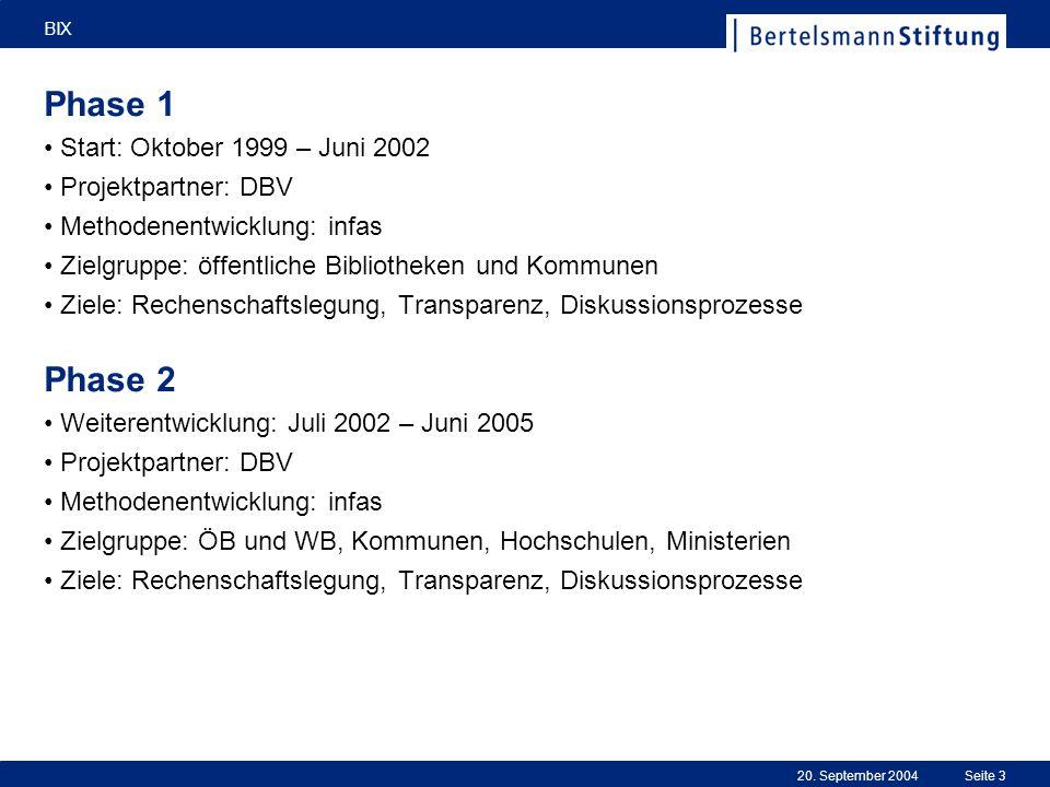 20. September 2004 BIX Seite 3 Phase 1 Start: Oktober 1999 – Juni 2002 Projektpartner: DBV Methodenentwicklung: infas Zielgruppe: öffentliche Biblioth