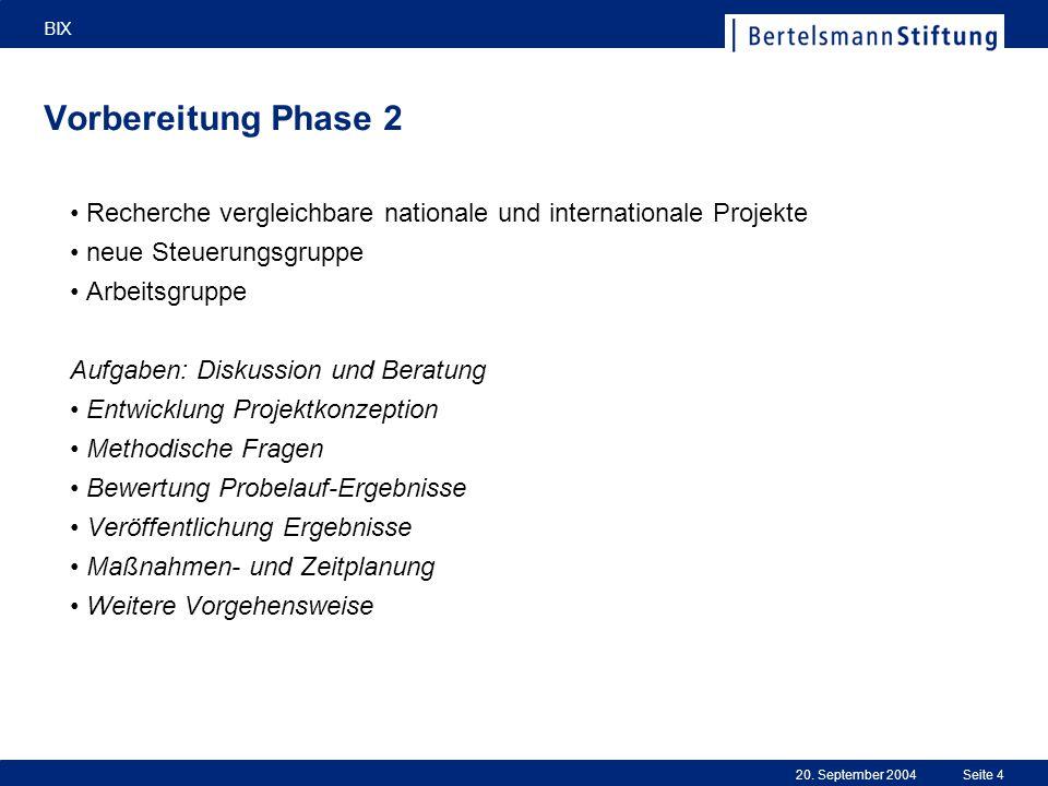 20. September 2004 BIX Seite 4 Vorbereitung Phase 2 Recherche vergleichbare nationale und internationale Projekte neue Steuerungsgruppe Arbeitsgruppe