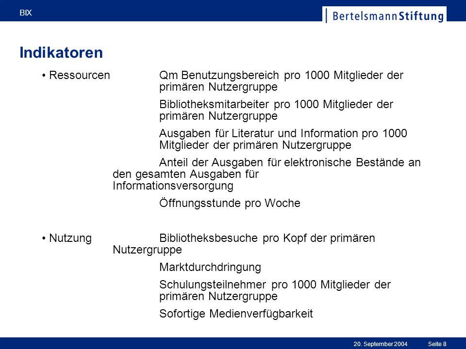 20. September 2004 BIX Seite 8 Indikatoren RessourcenQm Benutzungsbereich pro 1000 Mitglieder der primären Nutzergruppe Bibliotheksmitarbeiter pro 100