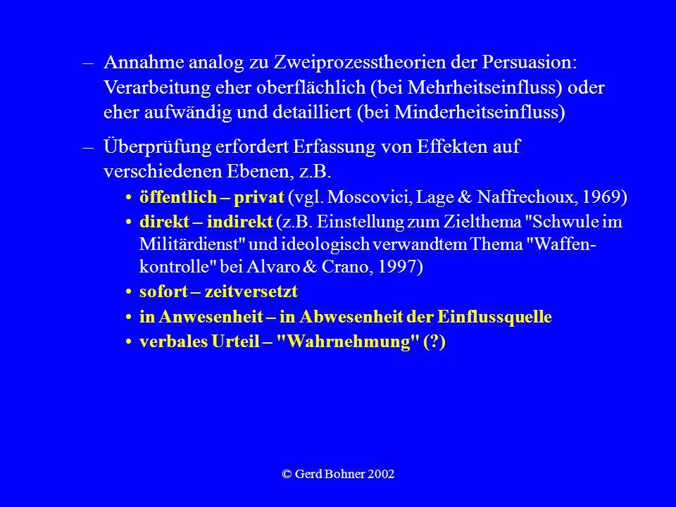 © Gerd Bohner 2002 –Annahme analog zu Zweiprozesstheorien der Persuasion: Verarbeitung eher oberflächlich (bei Mehrheitseinfluss) oder eher aufwändig und detailliert (bei Minderheitseinfluss) –Überprüfung erfordert Erfassung von Effekten auf verschiedenen Ebenen, z.B.