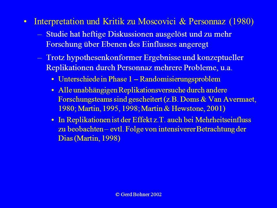 © Gerd Bohner 2002 Interpretation und Kritik zu Moscovici & Personnaz (1980) –Studie hat heftige Diskussionen ausgelöst und zu mehr Forschung über Ebenen des Einflusses angeregt –Trotz hypothesenkonformer Ergebnisse und konzeptueller Replikationen durch Personnaz mehrere Probleme, u.a.