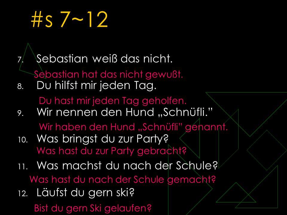 """#s 7~12 7. Sebastian weiß das nicht. 8. Du hilfst mir jeden Tag. 9. Wir nennen den Hund """"Schnüfli."""" 10. Was bringst du zur Party? 11. Was machst du na"""