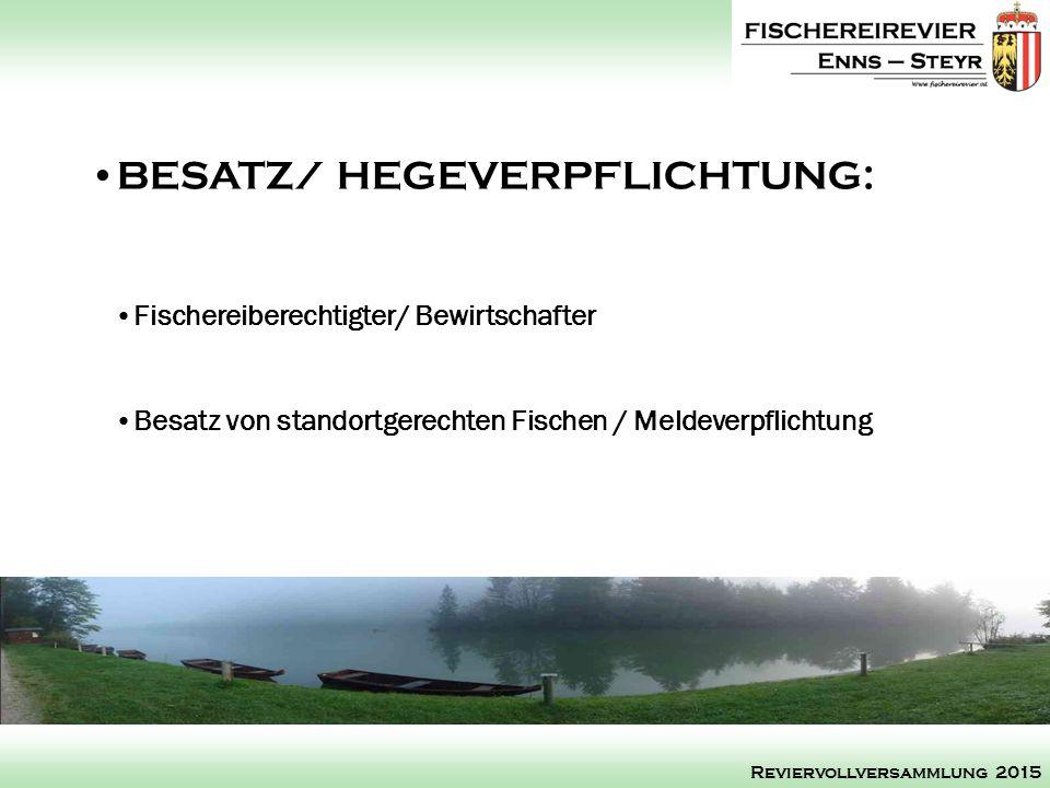 Fischereiberechtigter/ Bewirtschafter Besatz von standortgerechten Fischen / Meldeverpflichtung BESATZ/ HEGEVERPFLICHTUNG: Reviervollversammlung 2015