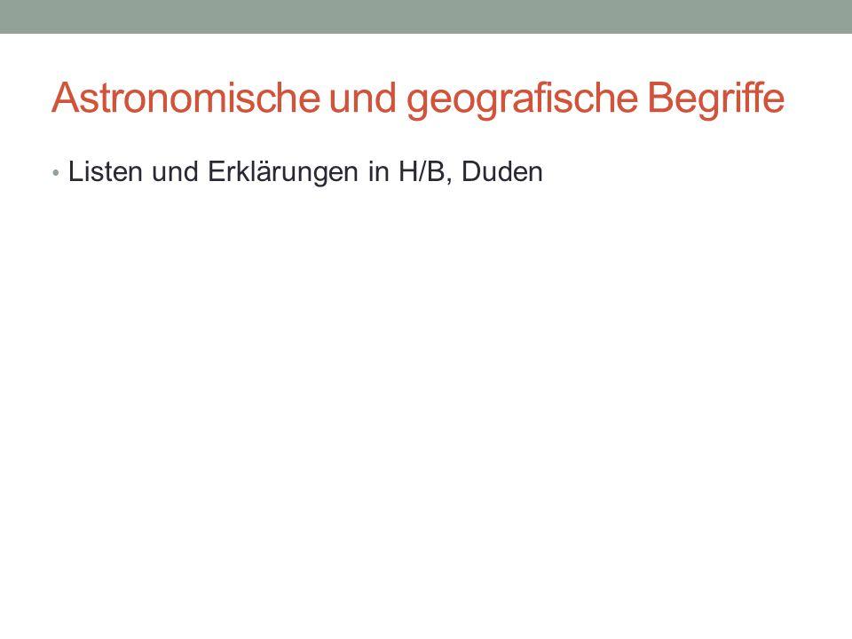 Astronomische und geografische Begriffe Listen und Erklärungen in H/B, Duden