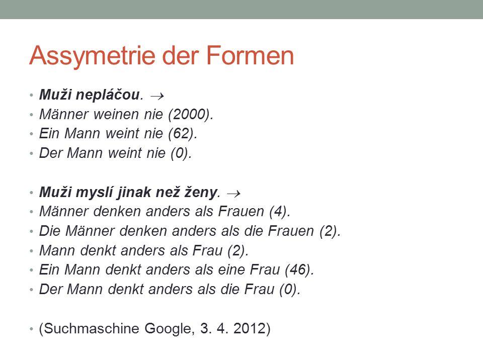 Assymetrie der Formen Muži nepláčou.  Männer weinen nie (2000). Ein Mann weint nie (62). Der Mann weint nie (0). Muži myslí jinak než ženy.  Männer