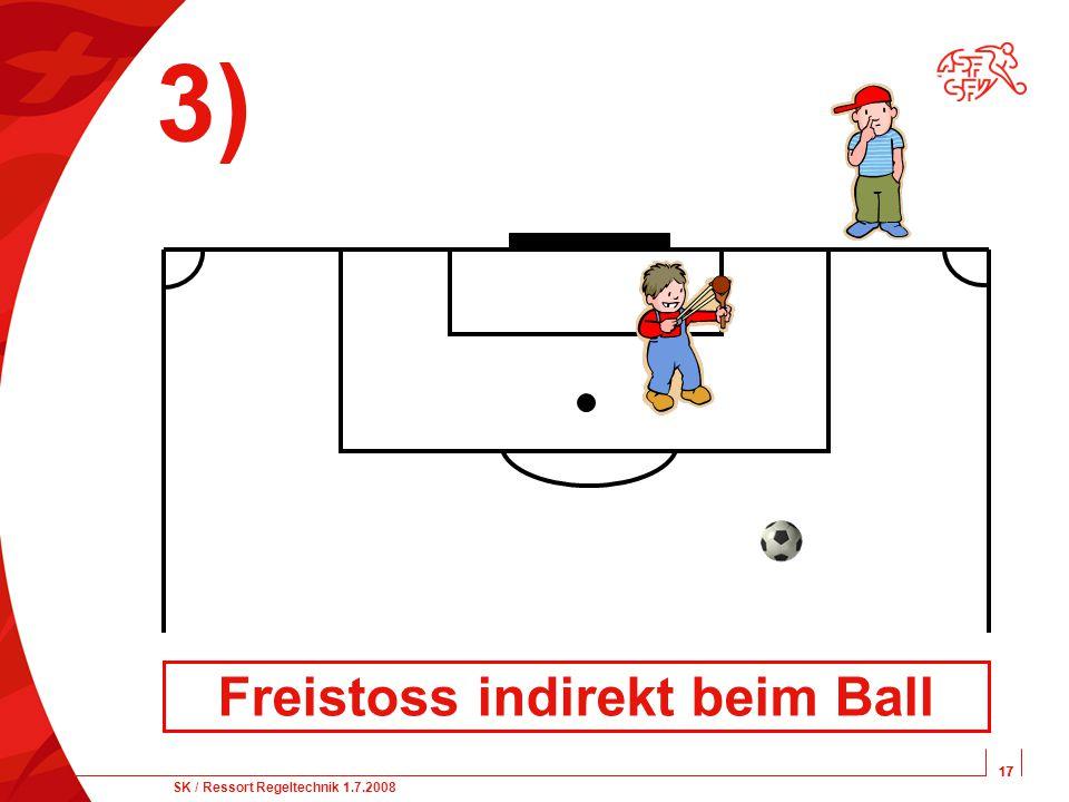 17 SK / Ressort Regeltechnik 1.7.2008 17 3) Freistoss indirekt beim Ball