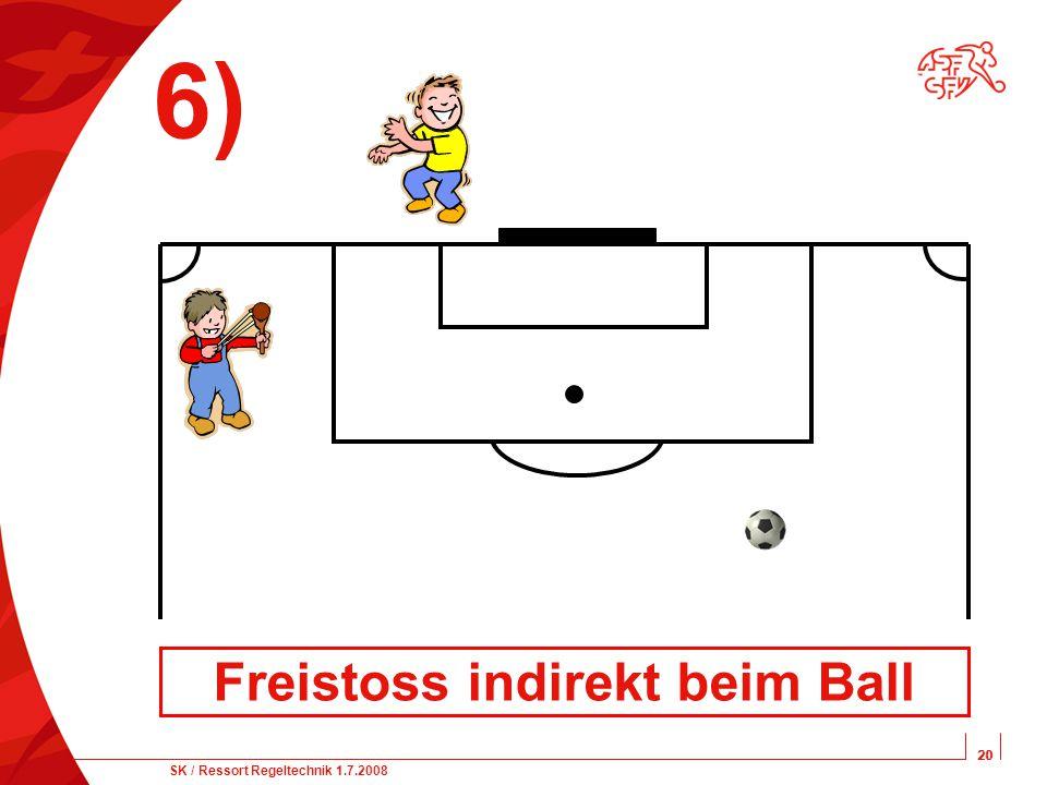 20 SK / Ressort Regeltechnik 1.7.2008 20 6) Freistoss indirekt beim Ball