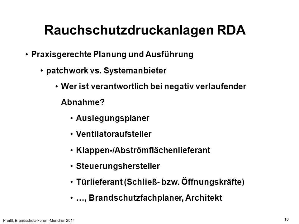 Preißl, Brandschutz-Forum-München 2014 10 Rauchschutzdruckanlagen RDA Praxisgerechte Planung und Ausführung patchwork vs. Systemanbieter Wer ist veran