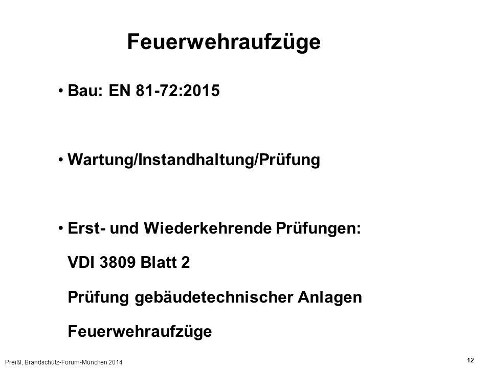 Preißl, Brandschutz-Forum-München 2014 12 Bau: EN 81-72:2015 Wartung/Instandhaltung/Prüfung Erst- und Wiederkehrende Prüfungen: VDI 3809 Blatt 2 Prüfu