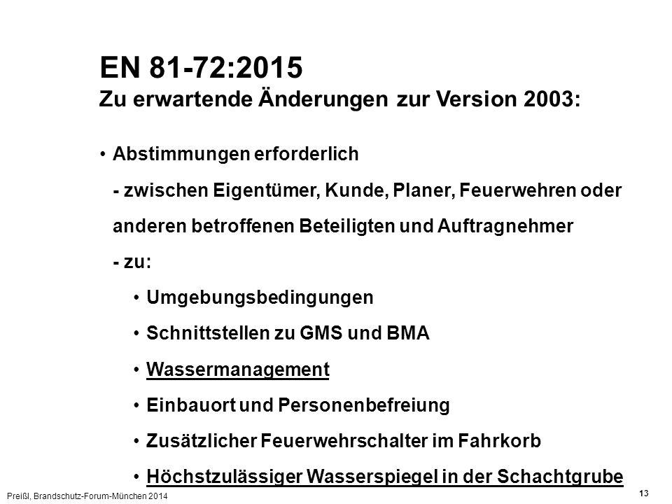 Preißl, Brandschutz-Forum-München 2014 13 Abstimmungen erforderlich - zwischen Eigentümer, Kunde, Planer, Feuerwehren oder anderen betroffenen Beteiligten und Auftragnehmer - zu: Umgebungsbedingungen Schnittstellen zu GMS und BMA Wassermanagement Einbauort und Personenbefreiung Zusätzlicher Feuerwehrschalter im Fahrkorb Höchstzulässiger Wasserspiegel in der Schachtgrube EN 81-72:2015 Zu erwartende Änderungen zur Version 2003: