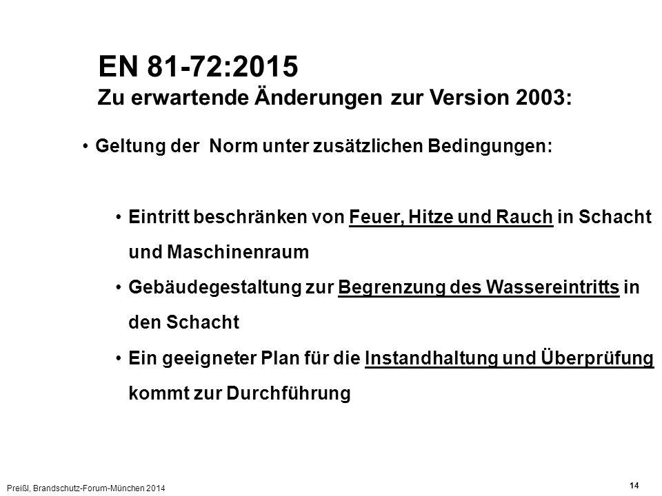 Preißl, Brandschutz-Forum-München 2014 14 Geltung der Norm unter zusätzlichen Bedingungen: Eintritt beschränken von Feuer, Hitze und Rauch in Schacht und Maschinenraum Gebäudegestaltung zur Begrenzung des Wassereintritts in den Schacht Ein geeigneter Plan für die Instandhaltung und Überprüfung kommt zur Durchführung EN 81-72:2015 Zu erwartende Änderungen zur Version 2003: