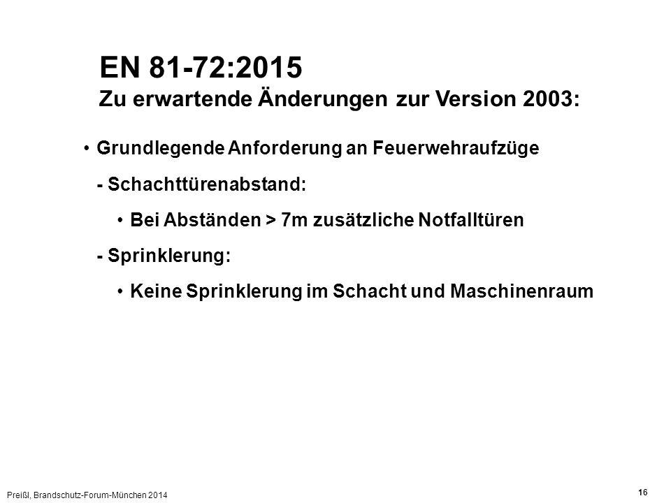 Preißl, Brandschutz-Forum-München 2014 16 EN 81-72:2015 Zu erwartende Änderungen zur Version 2003: Grundlegende Anforderung an Feuerwehraufzüge - Schachttürenabstand: Bei Abständen > 7m zusätzliche Notfalltüren - Sprinklerung: Keine Sprinklerung im Schacht und Maschinenraum