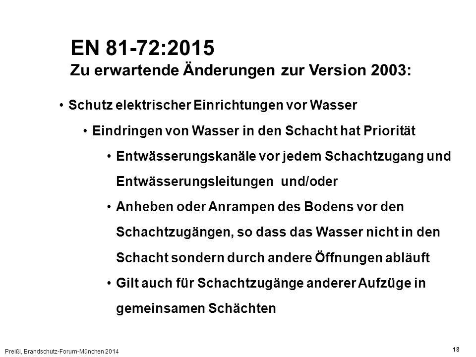 Preißl, Brandschutz-Forum-München 2014 18 EN 81-72:2015 Zu erwartende Änderungen zur Version 2003: Schutz elektrischer Einrichtungen vor Wasser Eindri