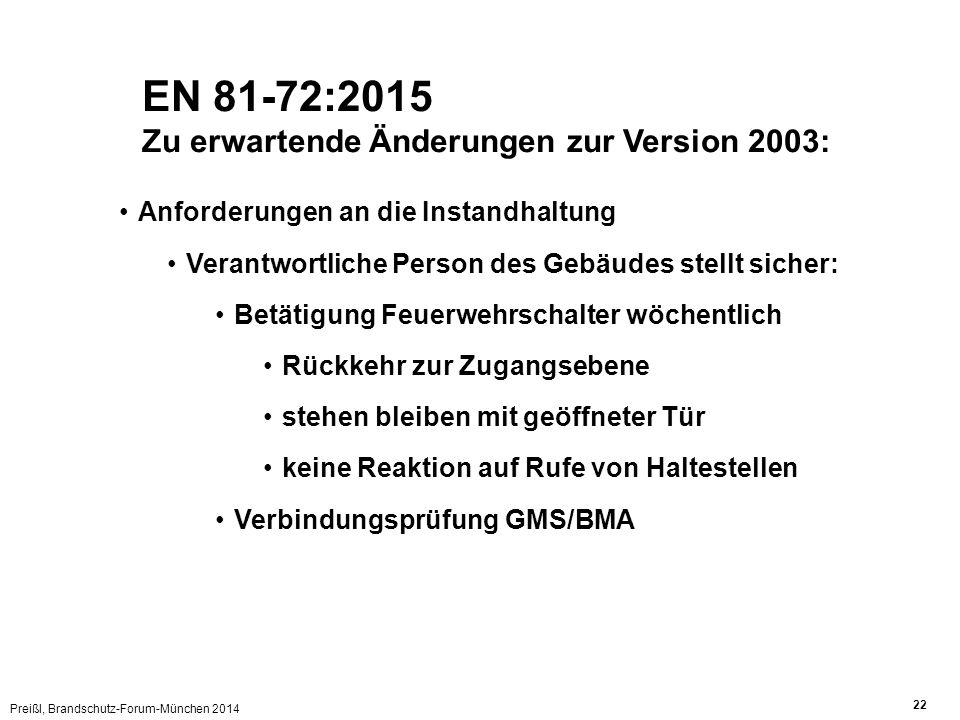 Preißl, Brandschutz-Forum-München 2014 22 EN 81-72:2015 Zu erwartende Änderungen zur Version 2003: Anforderungen an die Instandhaltung Verantwortliche Person des Gebäudes stellt sicher: Betätigung Feuerwehrschalter wöchentlich Rückkehr zur Zugangsebene stehen bleiben mit geöffneter Tür keine Reaktion auf Rufe von Haltestellen Verbindungsprüfung GMS/BMA