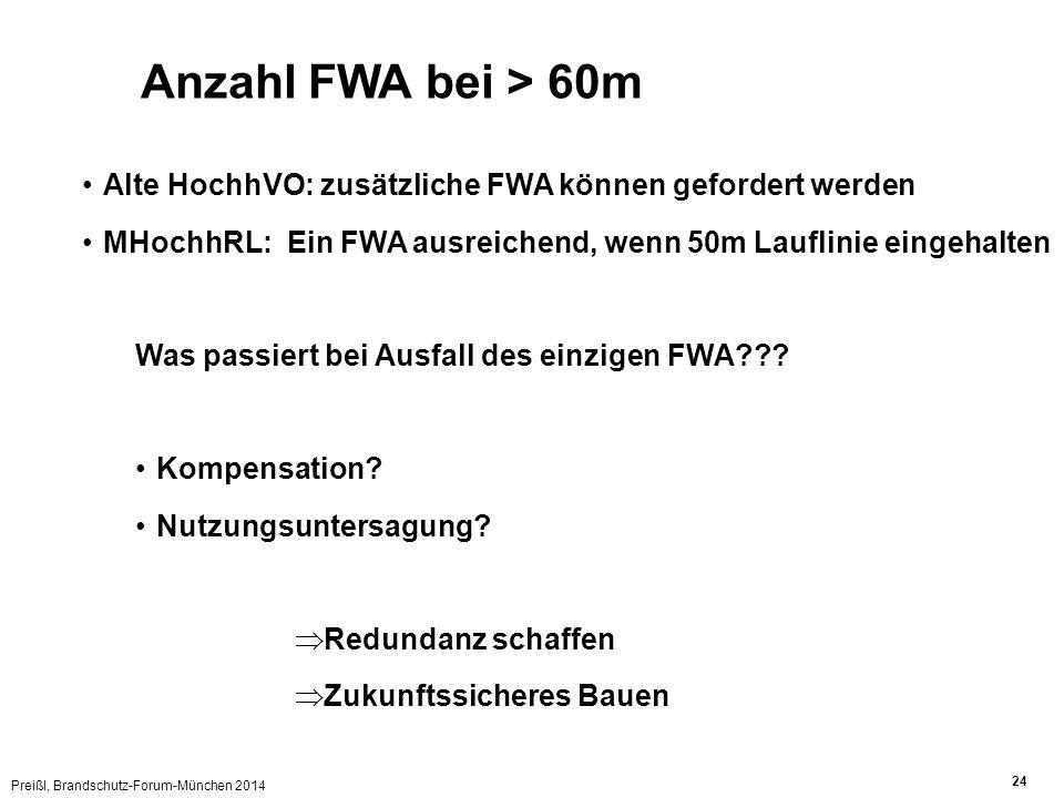 Preißl, Brandschutz-Forum-München 2014 24 Anzahl FWA bei > 60m Alte HochhVO: zusätzliche FWA können gefordert werden MHochhRL: Ein FWA ausreichend, wenn 50m Lauflinie eingehalten Was passiert bei Ausfall des einzigen FWA??.