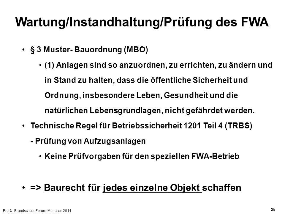 Preißl, Brandschutz-Forum-München 2014 25 Wartung/Instandhaltung/Prüfung des FWA § 3 Muster- Bauordnung (MBO) (1) Anlagen sind so anzuordnen, zu erric