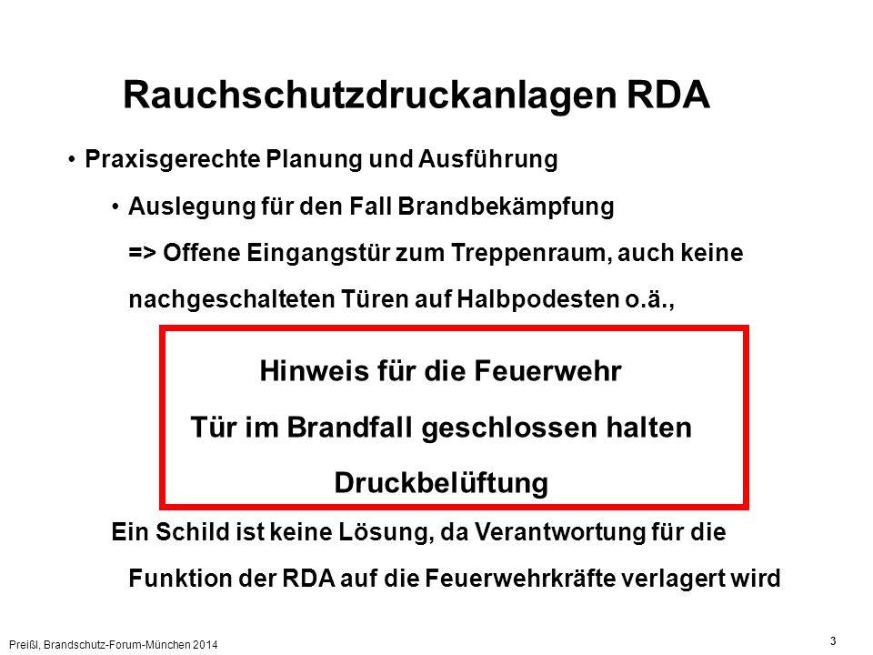 Preißl, Brandschutz-Forum-München 2014 3 Rauchschutzdruckanlagen RDA Praxisgerechte Planung und Ausführung Auslegung für den Fall Brandbekämpfung => O