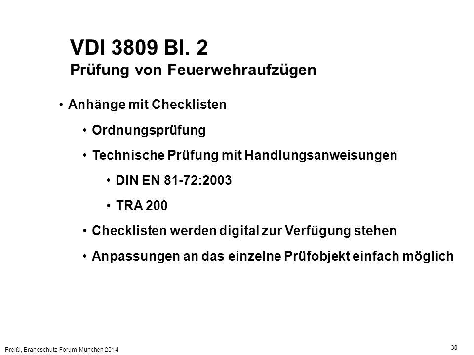 Preißl, Brandschutz-Forum-München 2014 30 VDI 3809 Bl. 2 Prüfung von Feuerwehraufzügen Anhänge mit Checklisten Ordnungsprüfung Technische Prüfung mit