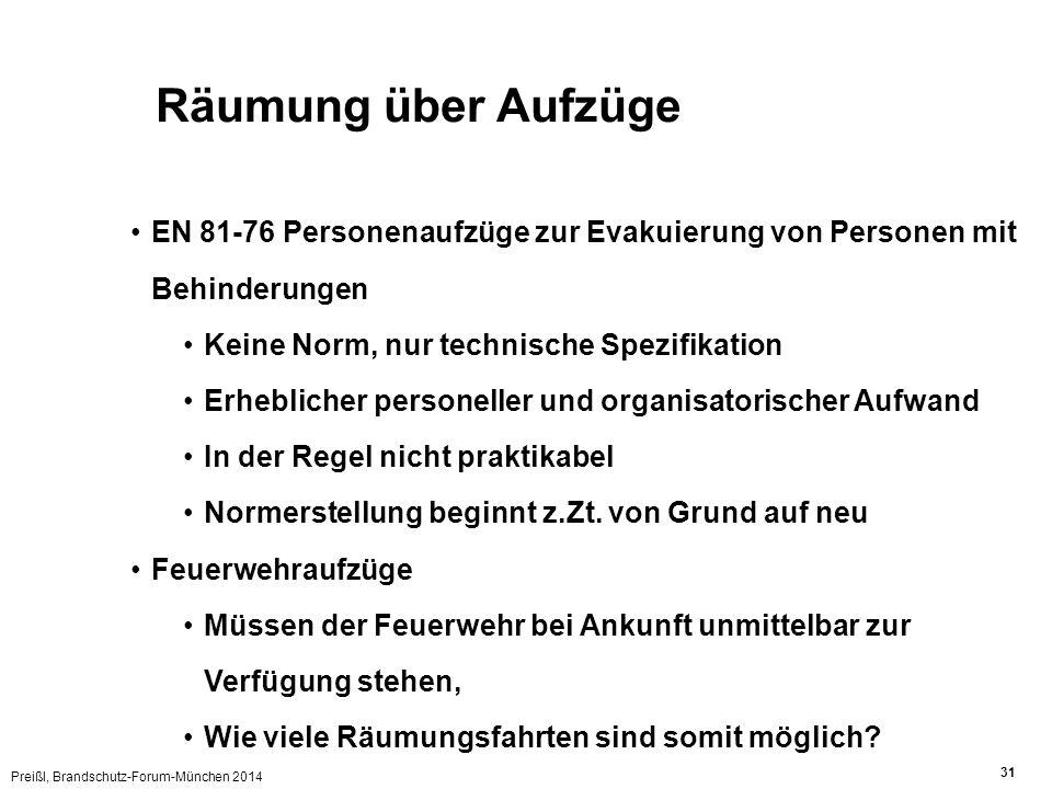 Preißl, Brandschutz-Forum-München 2014 31 Räumung über Aufzüge EN 81-76 Personenaufzüge zur Evakuierung von Personen mit Behinderungen Keine Norm, nur