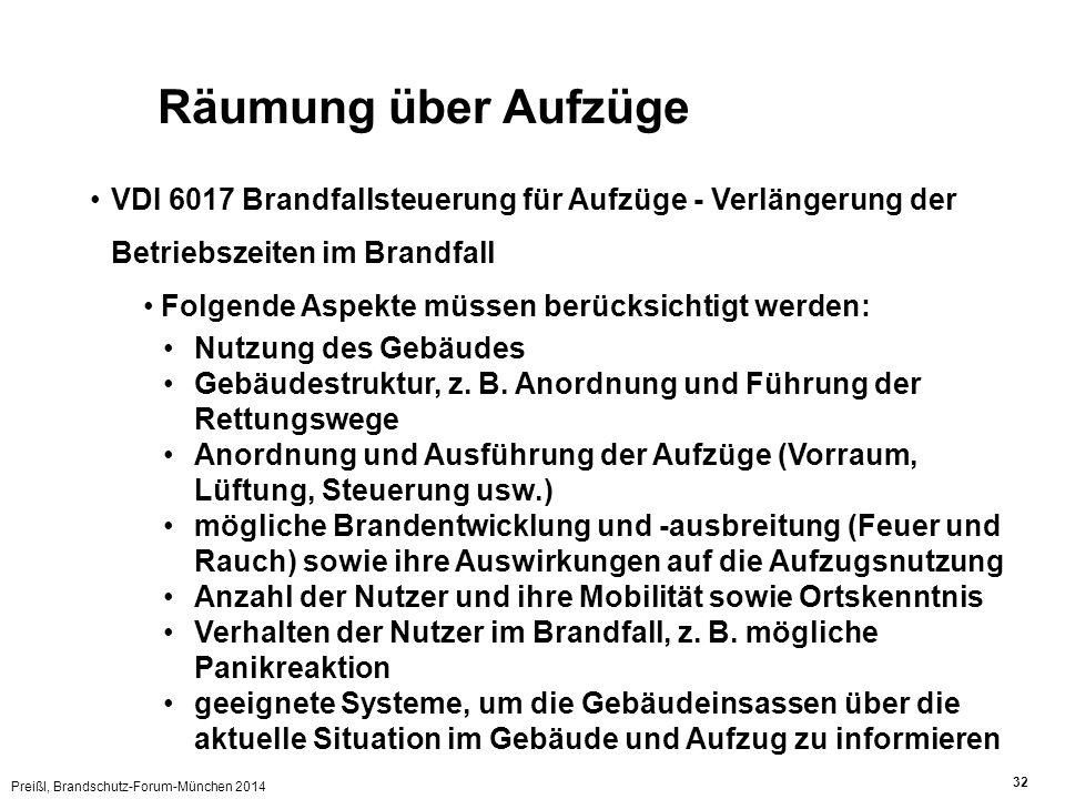 Preißl, Brandschutz-Forum-München 2014 32 Räumung über Aufzüge VDI 6017 Brandfallsteuerung für Aufzüge - Verlängerung der Betriebszeiten im Brandfall Folgende Aspekte müssen berücksichtigt werden: Nutzung des Gebäudes Gebäudestruktur, z.