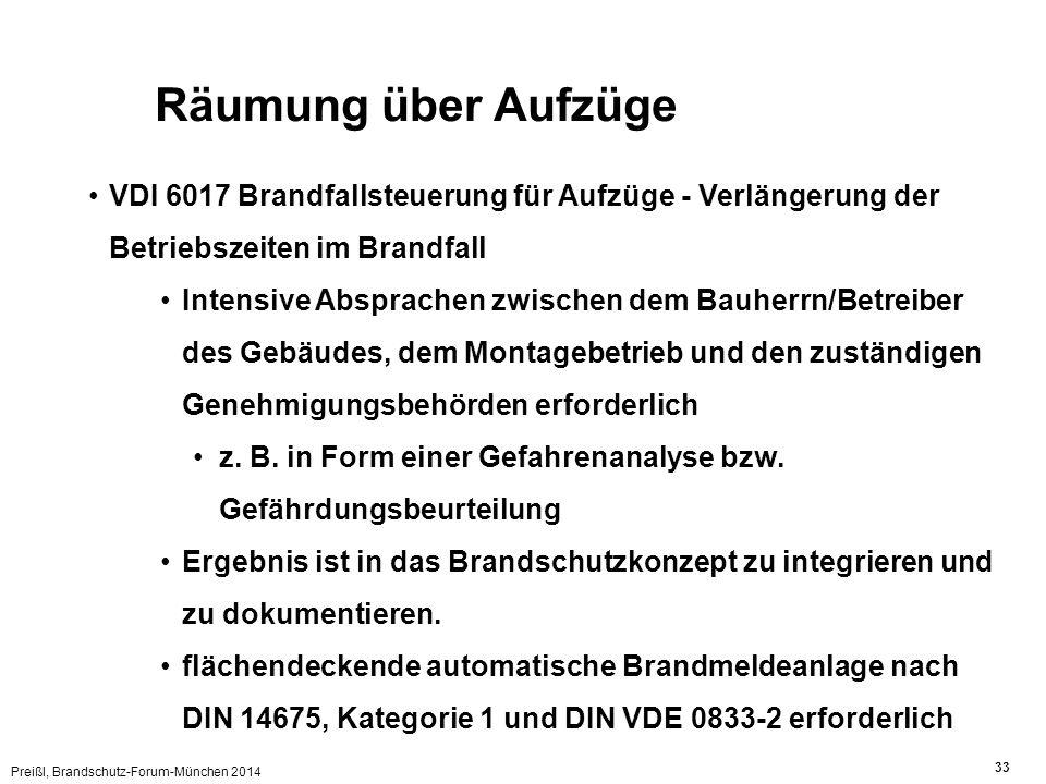 Preißl, Brandschutz-Forum-München 2014 33 Räumung über Aufzüge VDI 6017 Brandfallsteuerung für Aufzüge - Verlängerung der Betriebszeiten im Brandfall