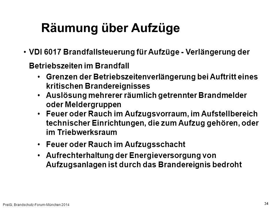 Preißl, Brandschutz-Forum-München 2014 34 Räumung über Aufzüge VDI 6017 Brandfallsteuerung für Aufzüge - Verlängerung der Betriebszeiten im Brandfall
