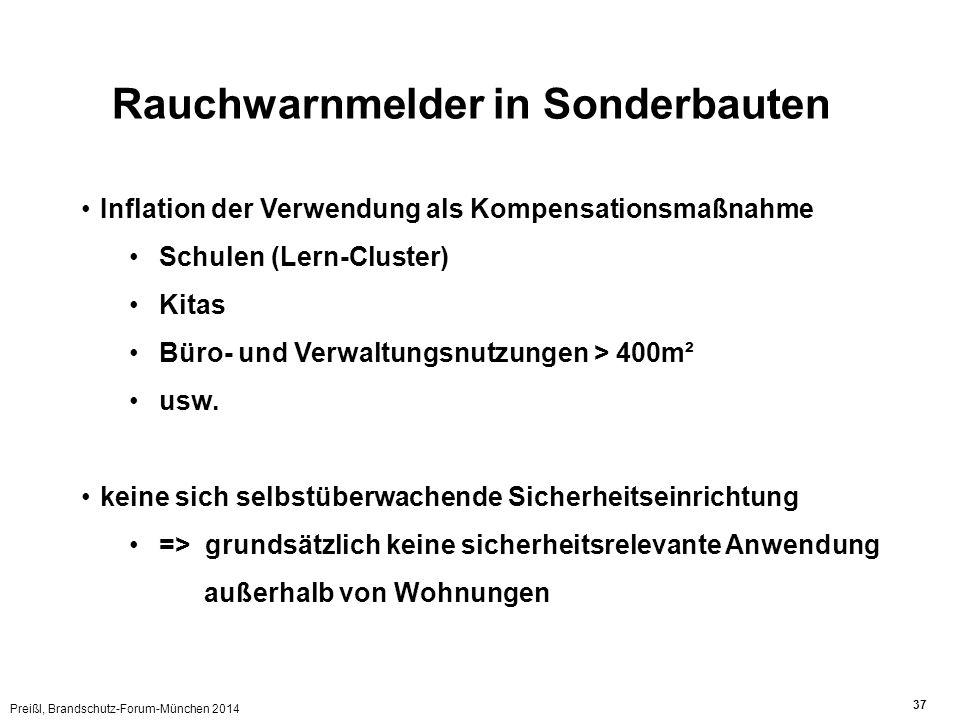 Preißl, Brandschutz-Forum-München 2014 37 Rauchwarnmelder in Sonderbauten Inflation der Verwendung als Kompensationsmaßnahme Schulen (Lern-Cluster) Kitas Büro- und Verwaltungsnutzungen > 400m² usw.