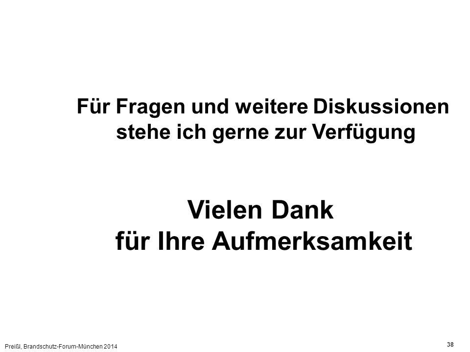 Preißl, Brandschutz-Forum-München 2014 38 Vielen Dank für Ihre Aufmerksamkeit Für Fragen und weitere Diskussionen stehe ich gerne zur Verfügung
