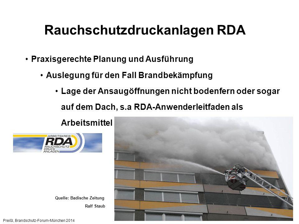 Preißl, Brandschutz-Forum-München 2014 5 Rauchschutzdruckanlagen RDA Praxisgerechte Planung und Ausführung Lage der Ansaugöffnungen wohl überlegt anordnen Quelle: