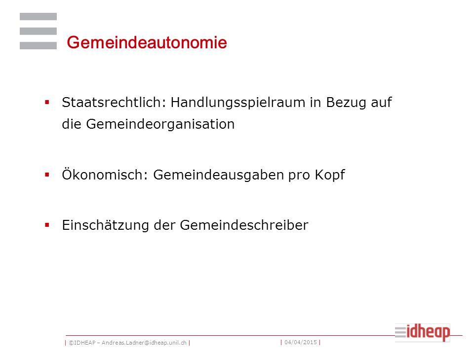 | ©IDHEAP – Andreas.Ladner@idheap.unil.ch | | 04/04/2015 | Gemeindeautonomie  Staatsrechtlich: Handlungsspielraum in Bezug auf die Gemeindeorganisation  Ökonomisch: Gemeindeausgaben pro Kopf  Einschätzung der Gemeindeschreiber
