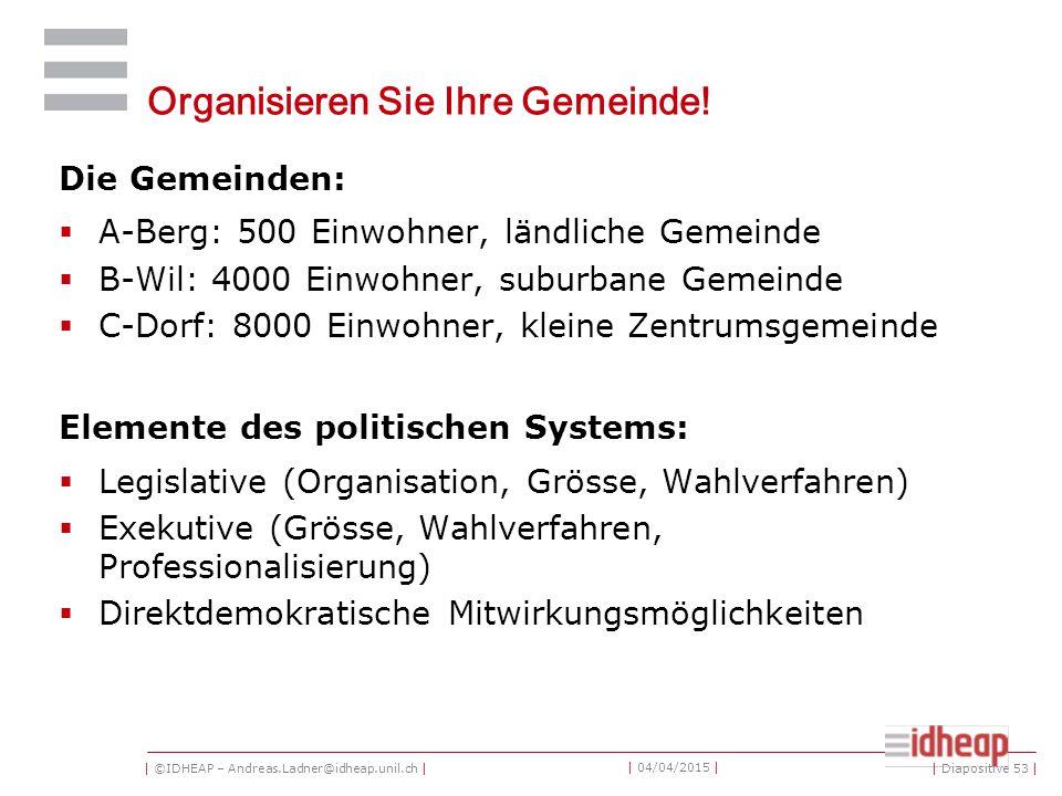 | ©IDHEAP – Andreas.Ladner@idheap.unil.ch | | 04/04/2015 | Organisieren Sie Ihre Gemeinde.