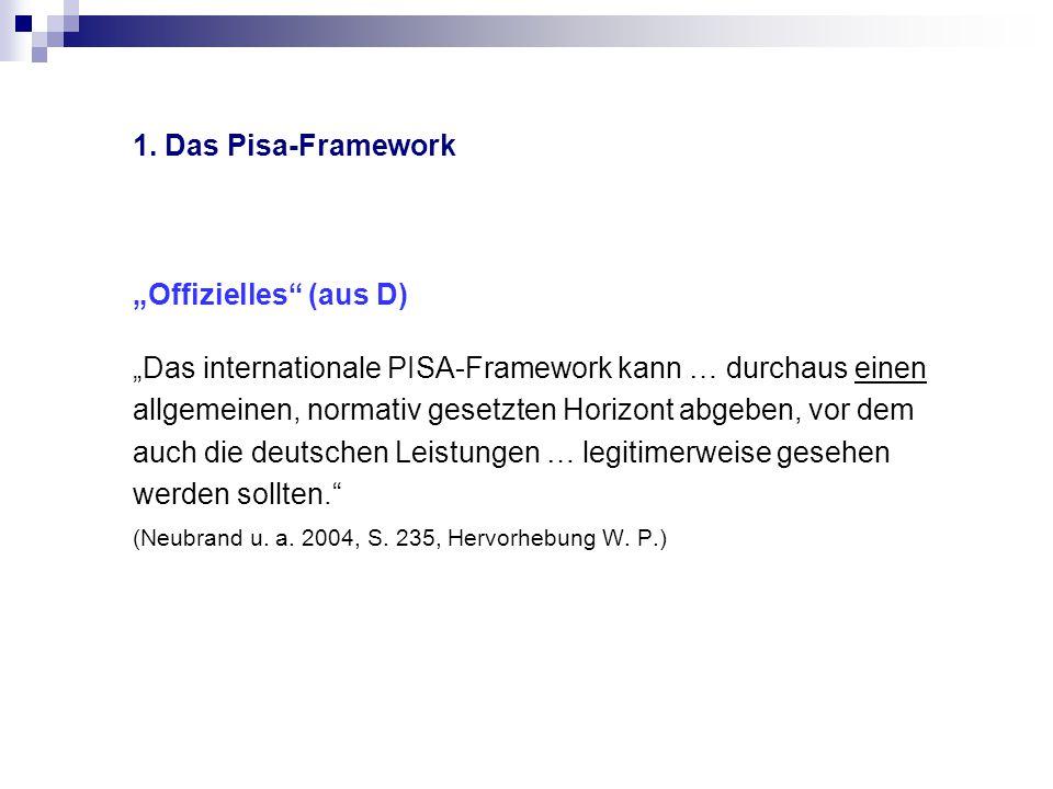 """1. Das Pisa-Framework """"Offizielles"""" (aus D) """"Das internationale PISA-Framework kann … durchaus einen allgemeinen, normativ gesetzten Horizont abgeben,"""