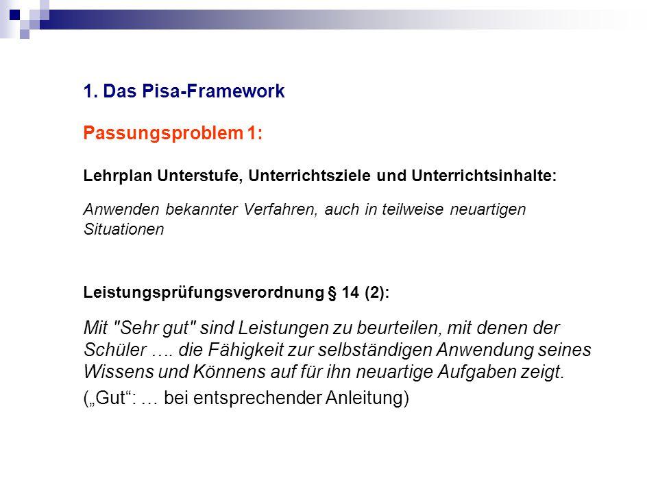 1. Das Pisa-Framework Passungsproblem 1: Lehrplan Unterstufe, Unterrichtsziele und Unterrichtsinhalte: Anwenden bekannter Verfahren, auch in teilweise