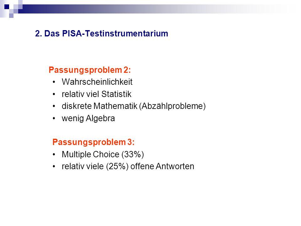 2. Das PISA-Testinstrumentarium Passungsproblem 2: Wahrscheinlichkeit relativ viel Statistik diskrete Mathematik (Abzählprobleme) wenig Algebra Passun