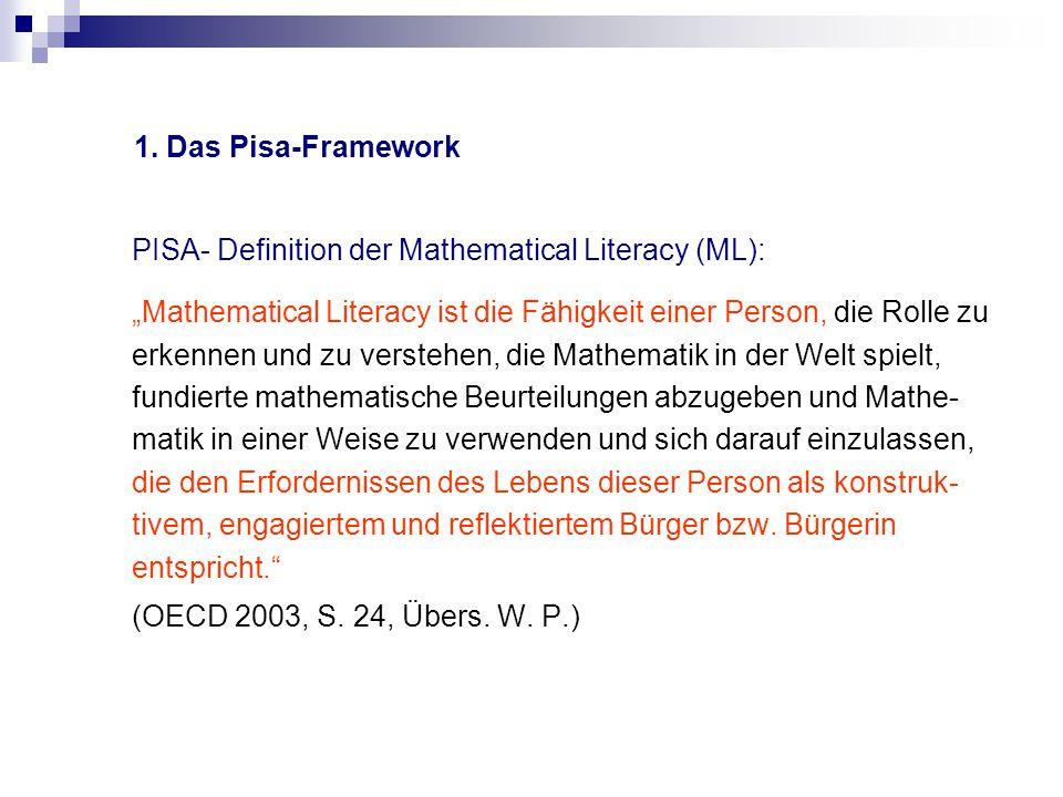 """1. Das Pisa-Framework PISA- Definition der Mathematical Literacy (ML): """"Mathematical Literacy ist die Fähigkeit einer Person, die Rolle zu erkennen un"""