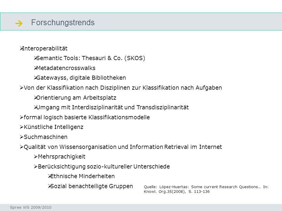 Forschungstrends  Seminar I-Prax: Inhaltserschließung visueller Medien, 5.10.2004 Spree WS 2009/2010 forschungstrends  Interoperabilität  Semantic Tools: Thesauri & Co.