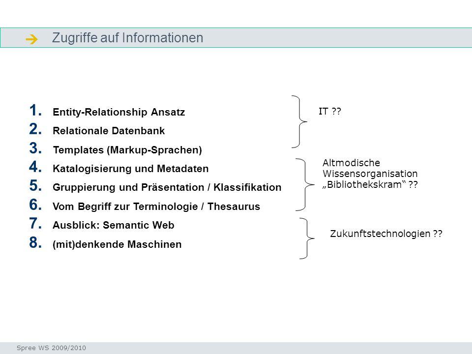Zugriffe auf Informationen  Ordnungsansätze 1. Entity-Relationship Ansatz 2. Relationale Datenbank 3. Templates (Markup-Sprachen) 4. Katalogisierung