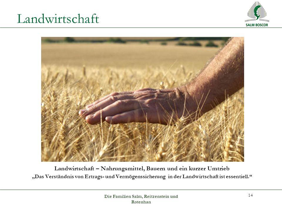 """Landwirtschaft Landwirtschaft – Nahrungsmittel, Bauern und ein kurzer Umtrieb """"Das Verständnis von Ertrags- und Vermögenssicherung in der Landwirtschaft ist essentiell. 14 Die Familien Salm, Reitzenstein und Rotenhan"""